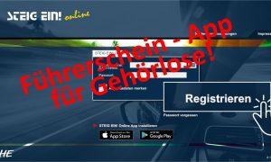 """Snapshot aus der Anwendung mit Überschrift """"Führerschein - App für Gehörlose"""""""